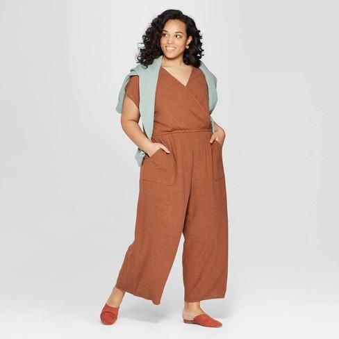 936cec759886 Women s Plus Size Short Sleeve V-Neck Jumpsuit - Universal Thread ...