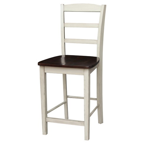 "Ladder Back Armless 24"" Counter Stool - Antiqued Almond/Espresso - International Concepts - image 1 of 2"