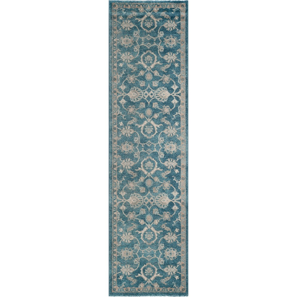 Floral Loomed Runner Blue/Beige
