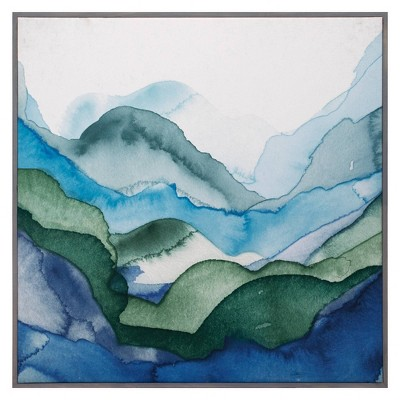 "35"" x 35"" Emerald Quartz A by GI Artlab Framed Wall Art Canvas - Fine Art Canvas"