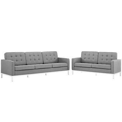 Set of 2 Loft Living Room Set Upholstered Fabric Light Gray - Modway