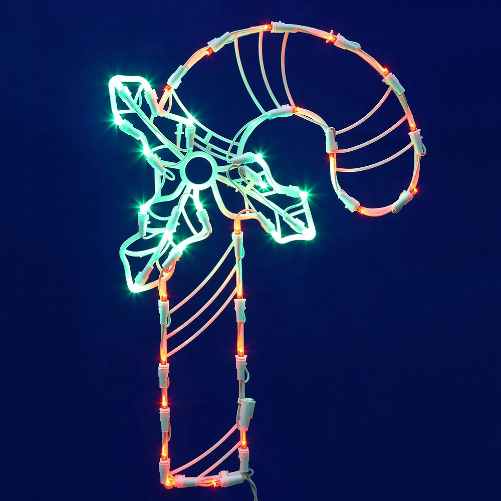 """Image of """"Vickerman 17"""""""" Candy Cane Wire Silhouette with 35 LED Lights"""""""