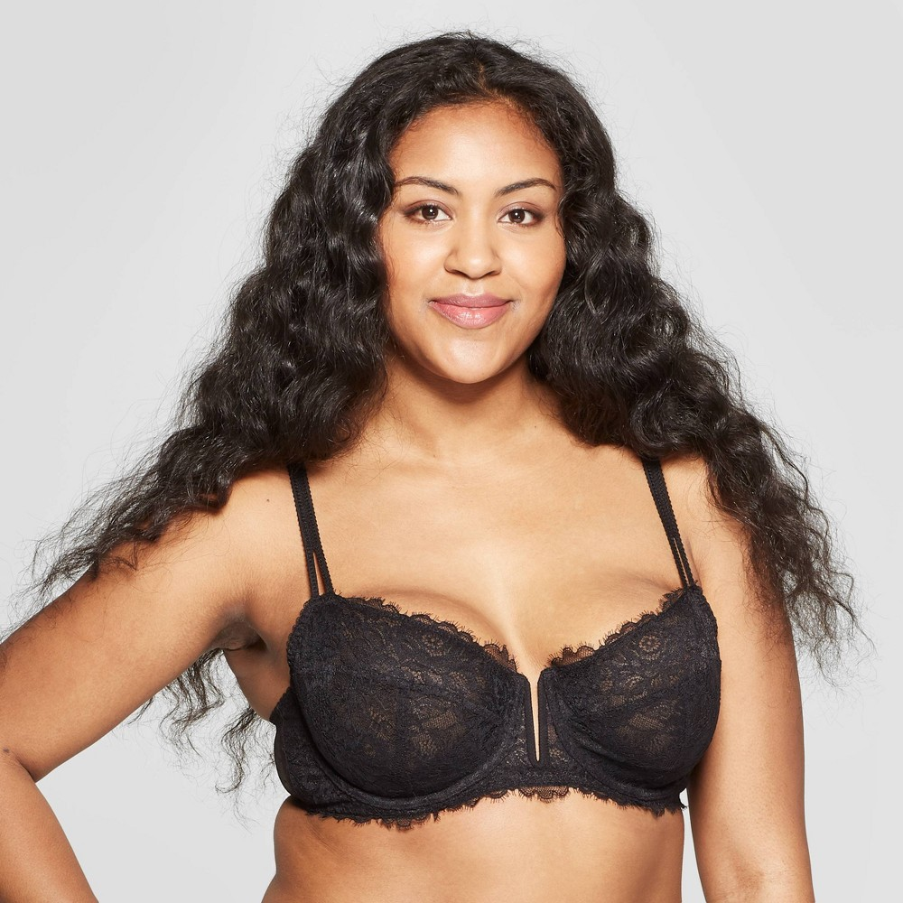 Women's Unlined Balconette Bra - Auden Black 32DD