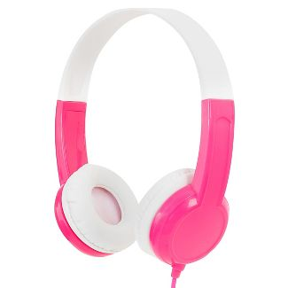 BuddyPhones Connect Kids Wired Headphones with SafeAudio and Customizable Stickers - Pink