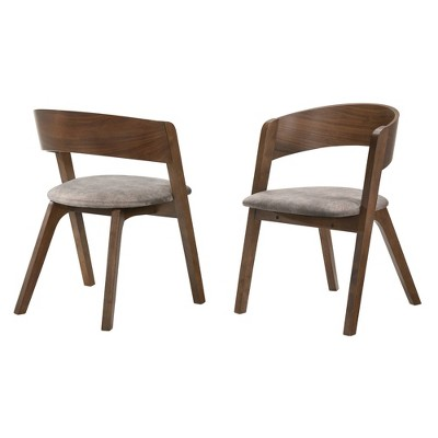 Set of 2 Jackie Mid-Century Upholstered Dining Chairs - Armen Living
