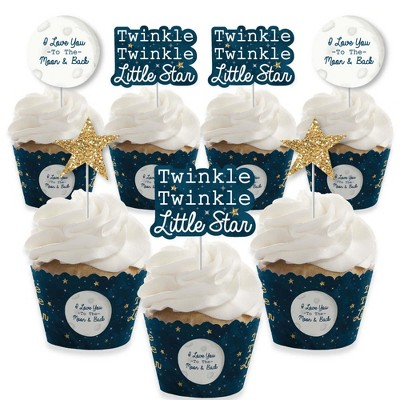 Big Dot of Happiness Twinkle Twinkle Little Star - Cupcake Decoration - Baby Shower or Birthday Party Cupcake Wrappers and Treat Picks Kit - Set of 24