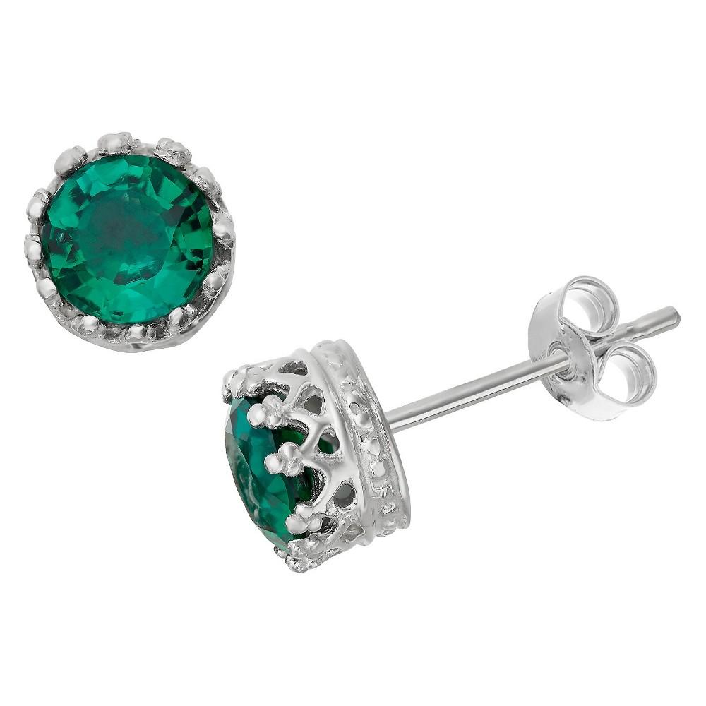 6mm Round-cut Emerald Crown Earrings in Sterling Silver, Girl's