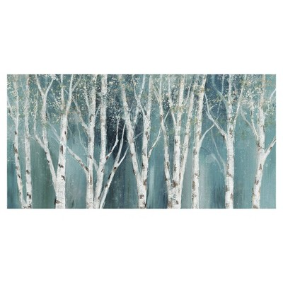 "24"" x 48"" Birch on Blue Soft by Nan Art on Canvas - Fine Art Canvas"