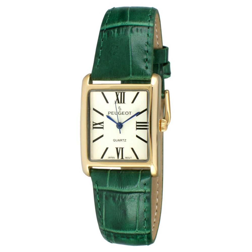 Peugeot Women's Gold Tone Classic Green Leather Strap Watch