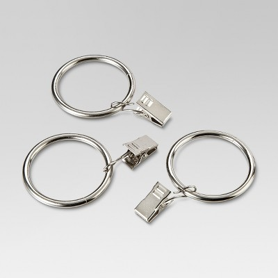 "1 "" Curtain Clip Rings Set Brushed Nickel - Threshold™"