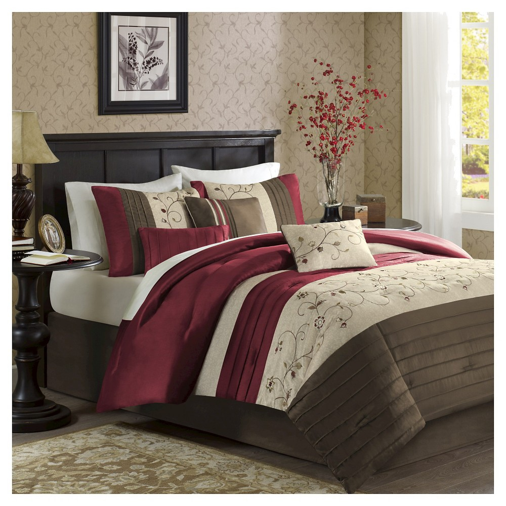 Image of Monroe 6 Piece Embroidered Duvet Cover Set - Red (Full/Queen)