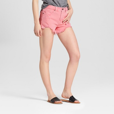 Women's High-Rise Destructed Jean Shorts - Mossimo Supply Co.™ Pink 4