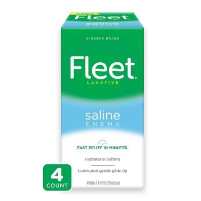 Fleet Laxative Saline Enema for Adult Constipation - 4 Bottles - 4.5 fl oz