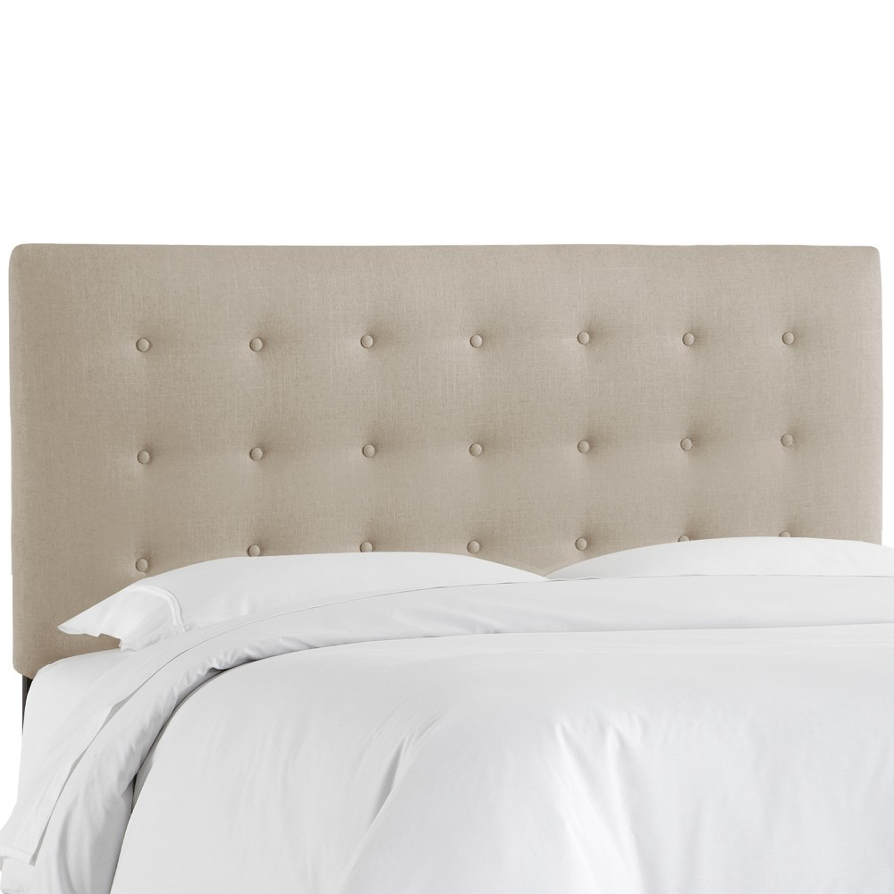 Twin Upholstered Button Headboard Taupe Linen - Skyline Furniture