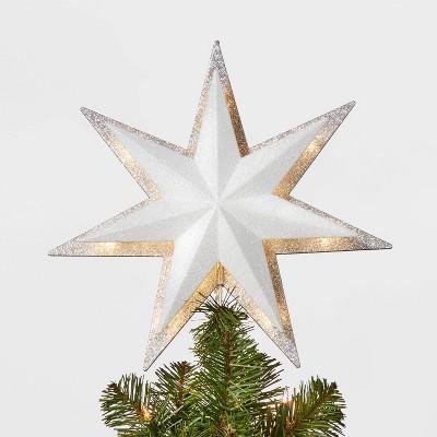 13in 21ct LED Light Glitter Star with Silver Glitter Star Tree Topper - Wondershop™