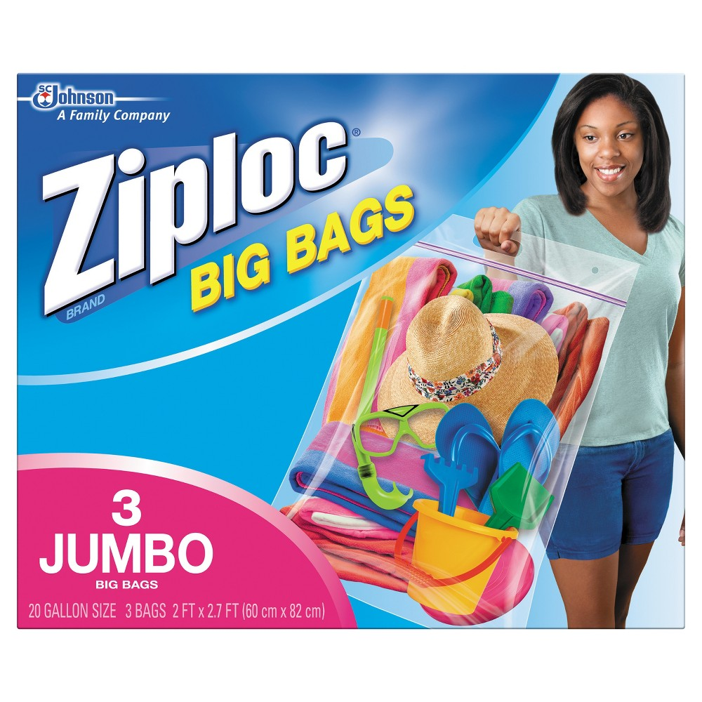 Ziploc Jumbo Size Big Bags - 3ct (Xxl) Get more out of the space in your home with Ziploc brand Big Bags. They're the biggest, strongest, most versatile Ziploc brand Bags ever created. Use them to store clothing, bedding, holiday decorations, sports equipment and more. No more clutter in the garage, the basement or the closet. Directions FOR Use: Fill the bag with pillows, sweaters, blankets and other items. Use the Ziploc seal to secure your items. Store, stack, or hang your Ziploc Space Bag almost anywhere! Uses: They're ideal storage solutions for practically everything. Size: Xxl.