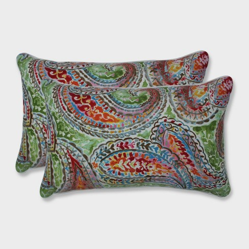 2pk Bright and Lively Fiesta Rectangular Throw Pillows Green - Pillow Perfect - image 1 of 1