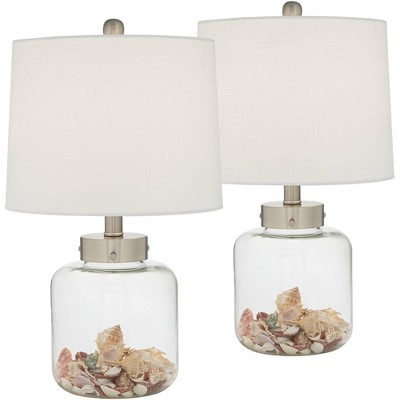 360 Lighting Coastal Accent Table Lamps Set of 2 Small Clear Glass Fillable Shells White Drum Shade for Living Room Family Bedroom