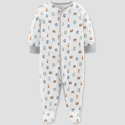 Baby Boys' Alphabet Print Organic Cotton Sleep 'N Play - Little Planet by Carter's White 6M