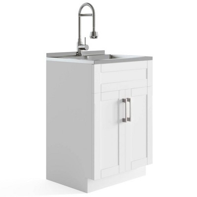 Hartland Contemporary Deluxe Laundry Cabinet with Faucet and Stainless Steel Sink White - WyndenHall