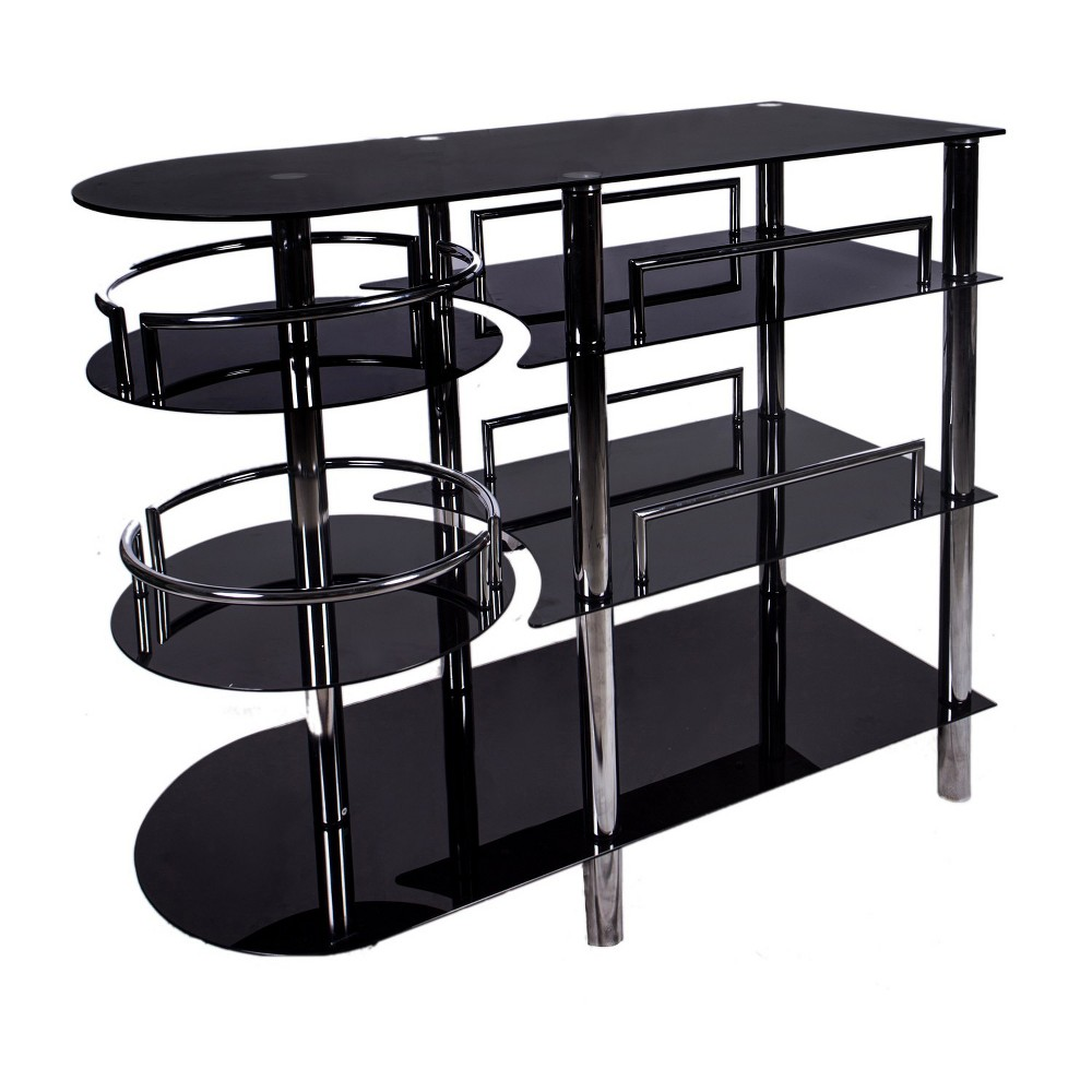 Bar - Metal, Glass - Black/Chrome - Home Source Industries