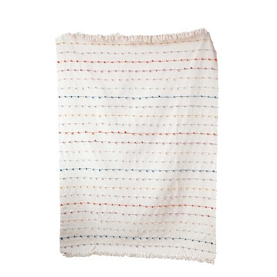 Cotton Throw Blanket with Embroidery Loop - 3R Studios