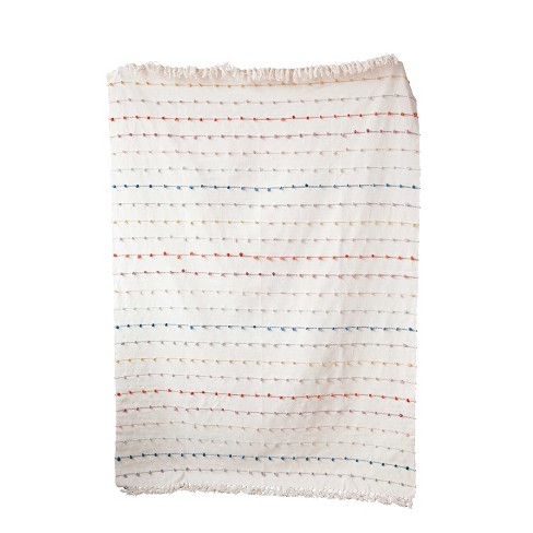 Cotton Throw Blanket with Embroidery Loop - 3R Studios - image 1 of 2