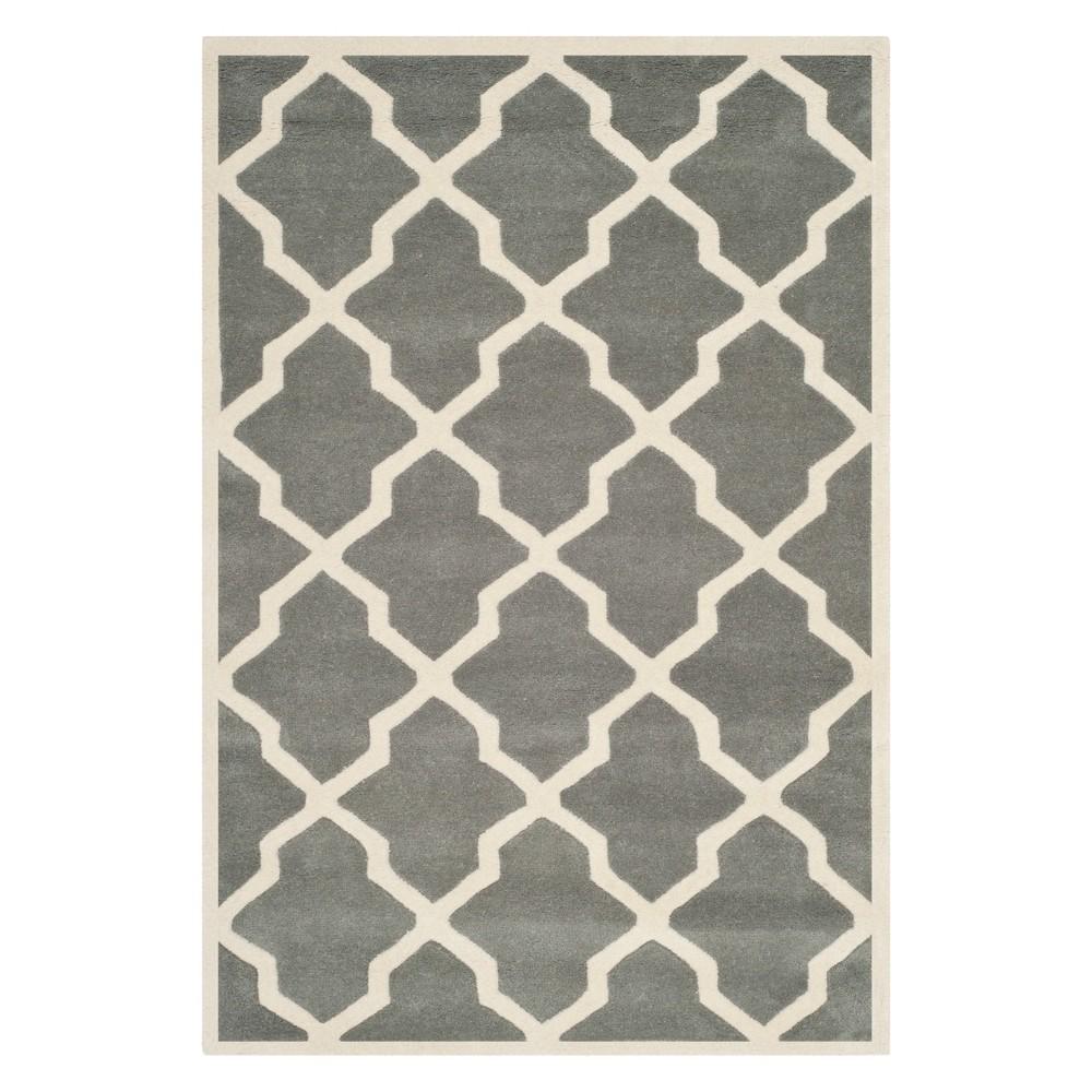 4'X6' Quatrefoil Design Tufted Area Rug Dark Gray/Ivory - Safavieh