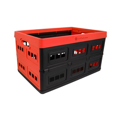 33qt Foldable Perforated Storage Crate Red/Black - Lotus USA