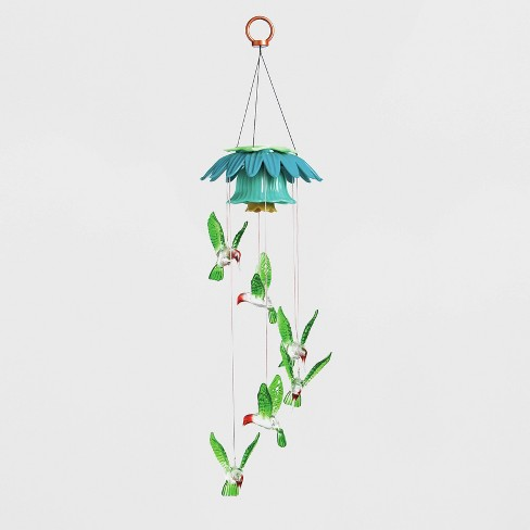 "26"" Acrylic/Metal Color Changing Hummingbirds Solar Mobile With Flower Top - Evergreen - image 1 of 2"