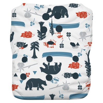 Thirsties Natural All-in-One Snap Diaper, One Size - Adventure Trail