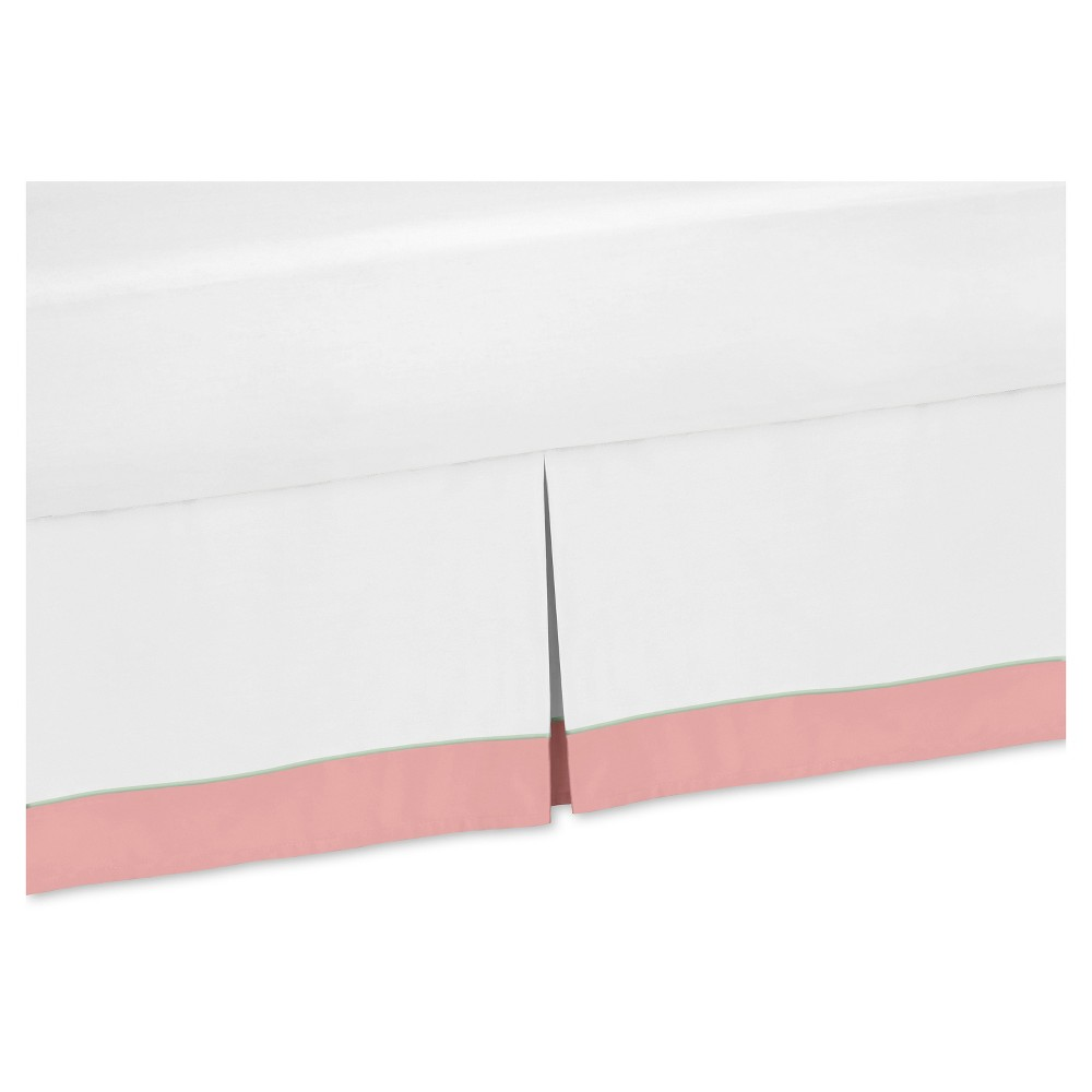 Image of Coral/White Bed Skirt - Sweet Jojo Designs, Pink White