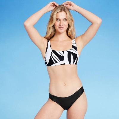Women's Square Neck Banana Tree Leaf Bikini Top - Kona Sol™ Black