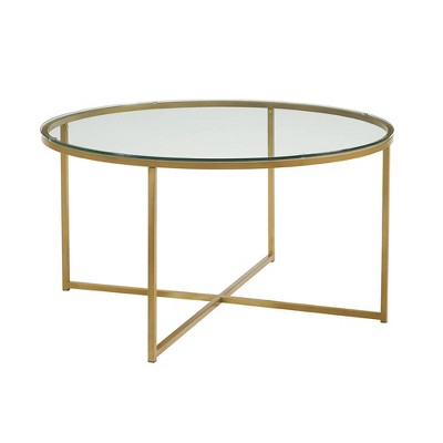 Glam X Base Round Coffee Table Faux White Gold - Saracina Home