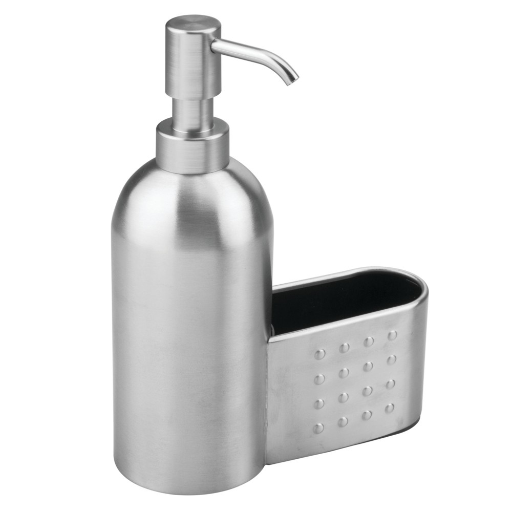 InterDesign Forma Stainless Steel Soap Pump and Amp Sponge Caddy 18oz Brushed, Silver