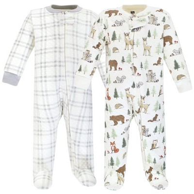 Hudson Baby Infant Boy Premium Quilted Zipper Sleep and Play, Forest Animals