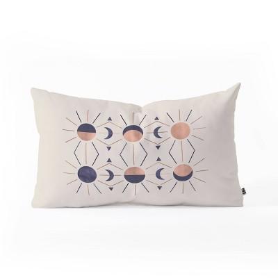 Emanuela Carratoni Moon and Sun Rose Gold Oblong Throw Pillow Purple - Deny Designs