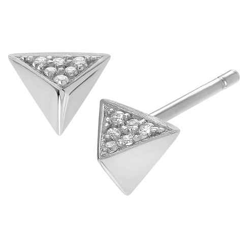 1/10 CT. T.W. Round-cut Cubic Zirconia Triangle Stud Pave Set Earrings in Sterling Silver - Silver - image 1 of 2