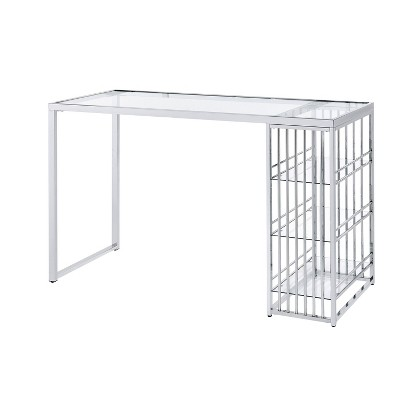 Pliny Bar Table with Glass Top Chrome - HOMES: Inside + Out