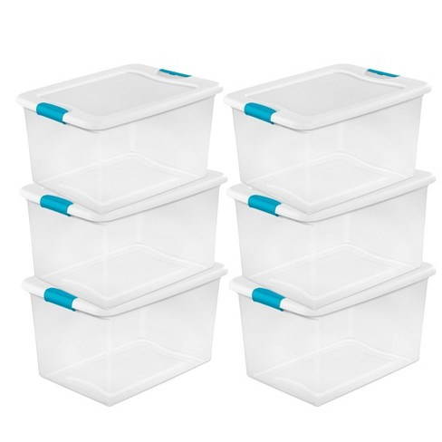 Sterilite 64 Quart Clear Plastic Storage Boxes Bins Totes W Latches 6 Pack Target