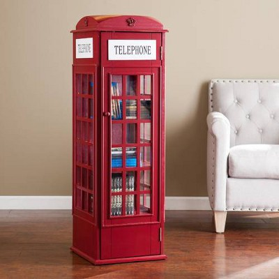 "45"" Abbey Phone Booth Storage Cabinet Burgundy Red - Aiden Lane"