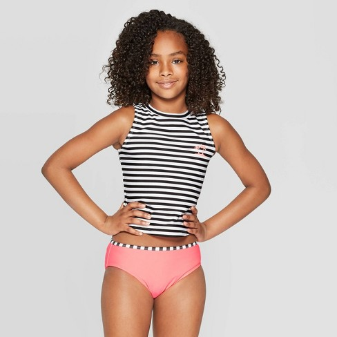 Girls' Made for the Ocean Tankini Set - art class™ Coral - image 1 of 3