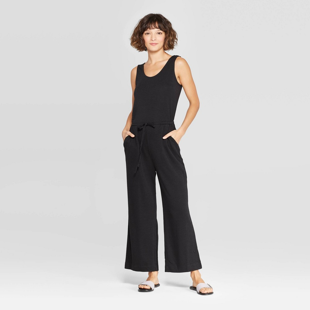 Women's Sleeveless Scoop Neck Knit Jumpsuit - A New Day Black Xxl