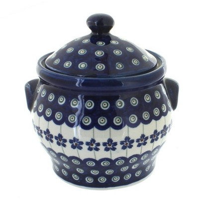 Blue Rose Polish Pottery Flowering Peacock Medium Canister