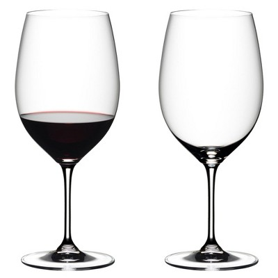 Riedel 6416/0 Vinum Dishwasher Safe Crystal Red Wine Glass Stemware with Microfiber Polishing Cloth for Cabernet Sauvignon, Merlot, Bordeaux (2 Pack)