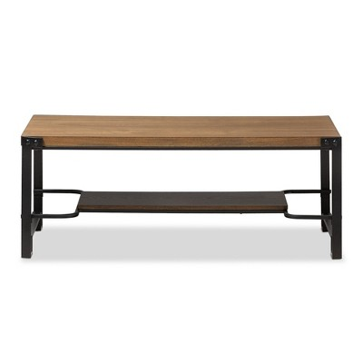 Gibson Rustic Industrial Style Antique Textured Finished Metal And  Distressed Wood Occasional Coffee Table   Brown, Black   Baxton Studio :  Target
