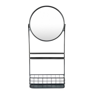 Round Metal Wall Mirror with Basket/Center Shelf Black - 3R Studios
