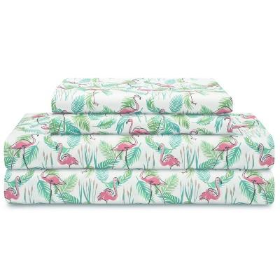Elite Home Set of Soft Brushed Microfiber Coastal Printed Bed Sheets for Master or Guest Bedrooms, 90 GSM, King, Flamingo Paradise Pink
