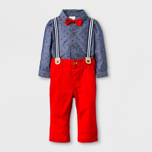Baby Boys' 4pc 'Button-Down' Collared Long Sleeve Bodysuit, Pants, Suspenders and Bow Tie Set - Cat & Jack™ Red/Blue - image 1 of 2