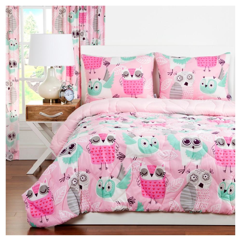Pink Crayola Night Owl Comforter Set (Full/Queen) 3pc